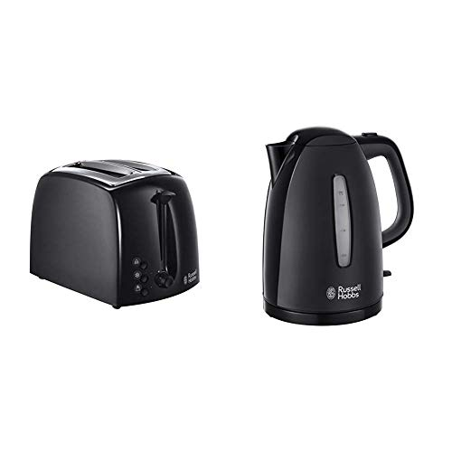 Russell Hobbs Textures 2-Slice Toaster 21641 - Black and Russell Hobbs Textures Plastic Kettle 21271, 1.7 L, 3000 W - Black