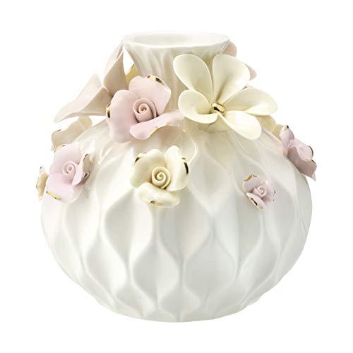 GreenGate Vase Daisy Dusty Cream w/Gold Round Large