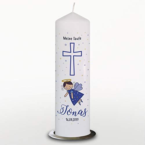 Taufkerze Junge mit Name und Datum Engel, Kommunionkerze Blau, 29cm, Mit Kerzenteller