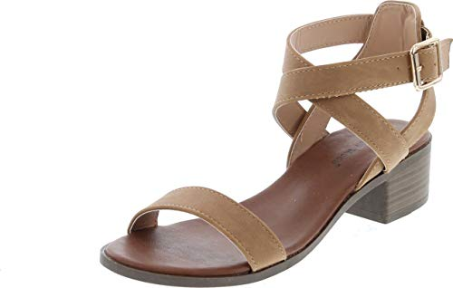 TOP Moda Vision-75 Women's Ankle Wrap Adjustable Buckle Stacked Chunky Heel Sandal,Tan,8.5