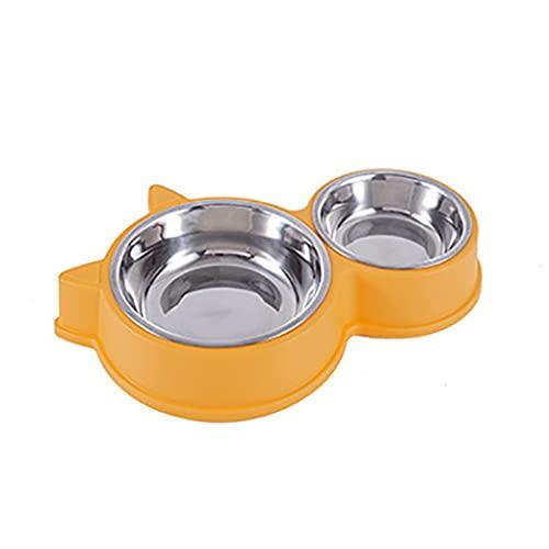 Flashing Alimentador de agua para perros y gatos, cuenco doble para mascotas, plato para beber de acero inoxidable para mascotas para gatos, cuencos para alimentación (Color : B)