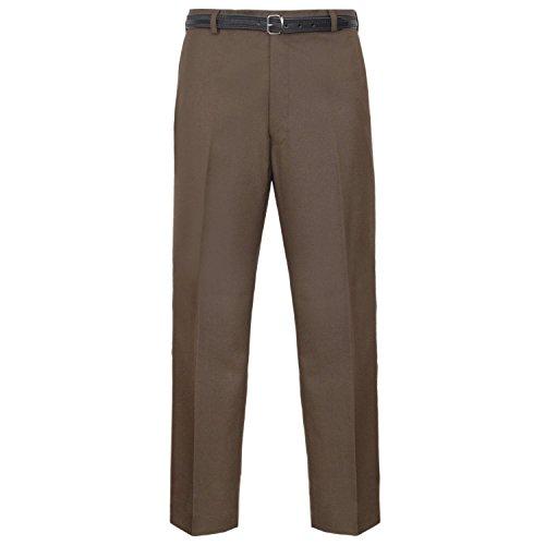 MyShoeStore Pantaloni da uomo formali, casual, da ufficio, lavoro, casa, con cintura, gamba dritta, parte anteriore piatta, tasche per Everpress, con cintura, 50 W x 29 l, marrone