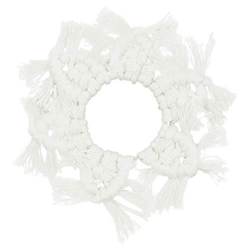 Garneck Keukengereedschap Isolatiemat Kwastje Hangende Hanger Servies Warmte Geïsoleerde Pad Handgemaakte Geweven Beker Coaster voor Warm Water Ketel en Verwarming Pot (Wit) 21 X 11c m Kleur: wit