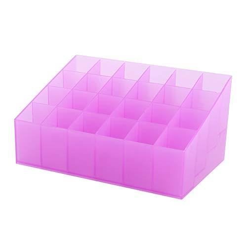 Changor Titular de la Barra de Labios, Maquillaje Estable Caja de Almacenamiento de cuadrículas con Piezas de plástico Lápices labiales (púrpura)