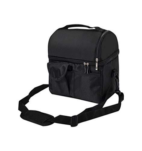 zhbotaolang Sac de Déjeuner Pique Nique - Doubles Couches Isotherme Lunch Bag Portable pour Travail Ecole (Noir)