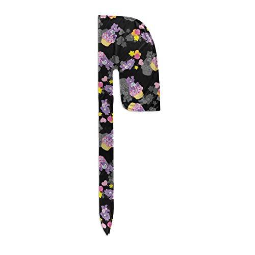 Velvet Durags Share Bear Lavender Do Your of Sharing Black Wave Cap Headwraps Men Women Long Tail Straps
