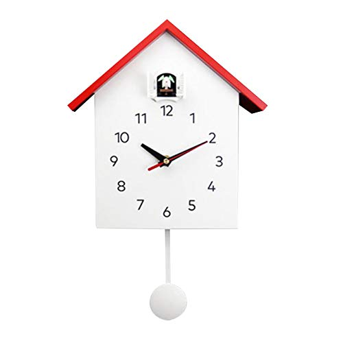 MagiDeal Reloj de Cuco Moderno, Cuckoo Home Reloj con Pendulo, Diseño Simple Reloj de Cuco Reloj Reloj de Pared para Sala de Estar Dormitorio Oficina Habitación Niños - Rojo