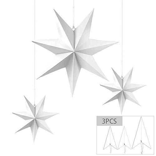 MEISHANG 3PCS Linternas De Papel De Estrellas,Estrella De Papel Colgante,Estrellas Colgantes De Navidad 3D,Estrellas De Papel Navideñas,Papel Estrella Navidad,Estrellas Navidad Papel