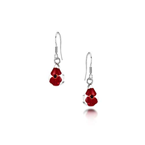 Poppy earrings by Shrieking Violet. Sterling silver drop dangle teardrop earrings with tiny real Euphrbia milii flowers.