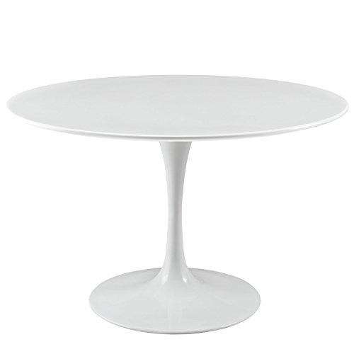 Modway Lippa 47' Mid-Century Modern Dining Table with Round Top and Pedestal Base in White