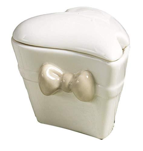 Oggettistica per bomboniere Serie Papillon Crema Zuccheriera cuore in ceramica in scatola regalo