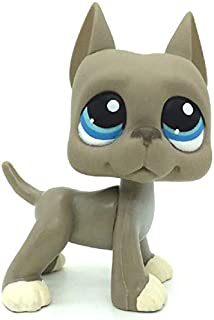 N/N Littlest Pet Shop, LPS Toy Grey Great Dane Dog Blue Eyes LPSs Toys Puppy Figures