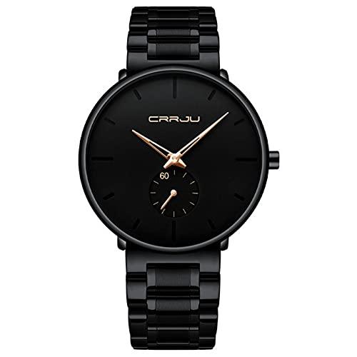 XIAN Reloj Minimalista para Hombre Reloj de Cuarzo de Moda con Correa de Acero Inoxidable Reloj Deportivo Impermeable,Rose Needle