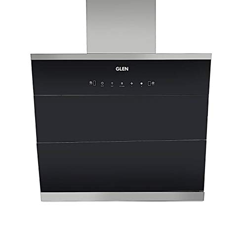 Glen 75cm 1400 m³/h Auto Clean Vertical Glass Kitchen Chimney (6073,Filter Less,Touch Control with Motion Sensor, Black)