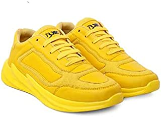 KT Traders Solid Reguler Mesh Lace-Up On Style for Easy Sport Shoes (KT Traders-103-Yellow-8)