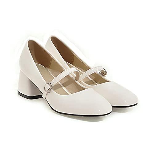 Zapatos de tacón para mujer, elegantes y cuadrados, estilo Mary Jane, estilo retro, cómodo, de piel sintética, zapatos de vestir casuales para citas, color Blanco, talla 37.5 EU