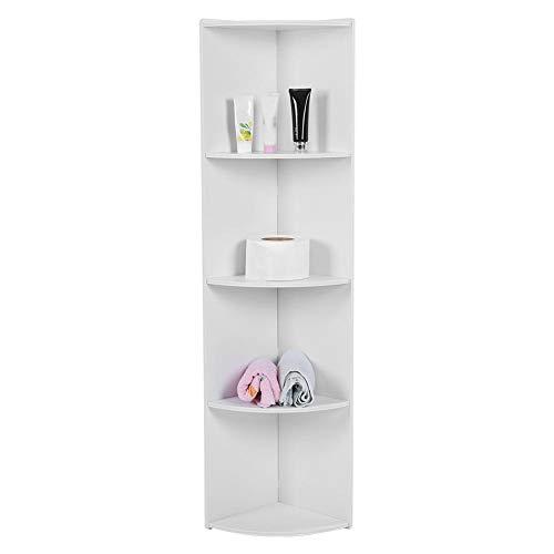 AYNEFY Estantería esquinera de pie blanca con 4 estantes, para CD, DVD, decoración, estantería de madera, para cocina, dormitorio, salón, oficina, 28 x 24 x 120 cm