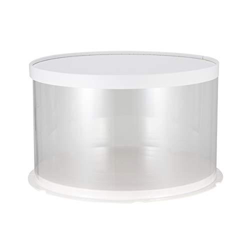 UPKOCH Runde Kuchen Transparent Box Kuchen Gebäck Kuchen Kuchen Dessert Vorratsbehälter für Geschäft Zuhause, White Single-layer, 22cm/10inch