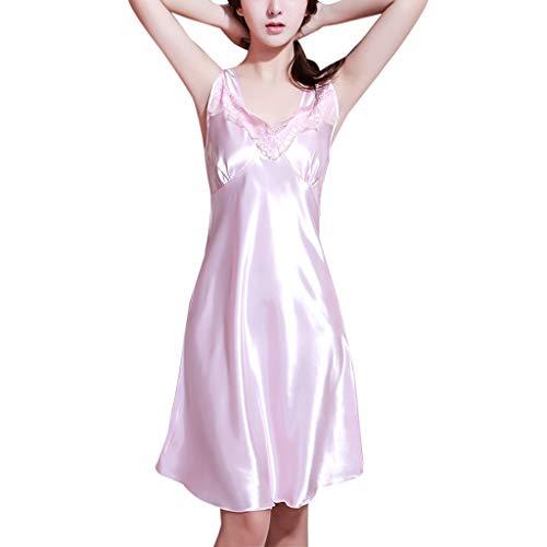 VRTUR Mode Femmes Chemise De Nuit Gilet sans Manches pour De Soie GlacéE Pyjama Satin Soyeux sous-VêTements Robe De SoiréE(XL,Rose)