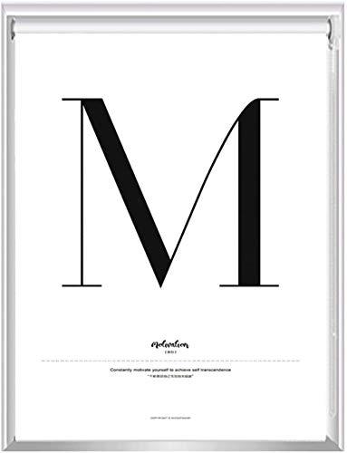 HHJJ Blanco apagón Ciego Rodillo for toldo en la Letra M Diseño y Diferentes tamaños - Excelente for Cocinas/Sala de Estar/Dormitorio/Oficina, 60cm / 80cm / 100cm / 120cm / 140 cm de Ancho
