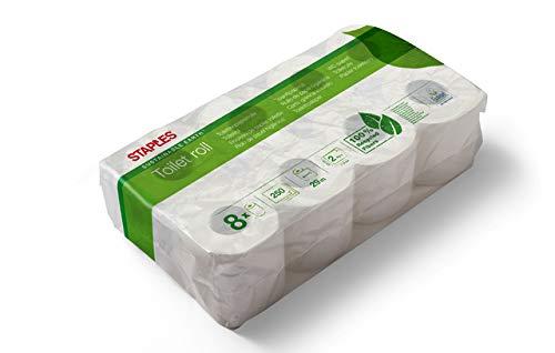 STAPLES Toilettenpapier SUSTAINABLE EARTH™, Papier, RC, 2lagig, 250 Blatt, 8 x 8 Rollen, naturweiß (64 Rollen)
