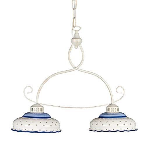 Helios Leuchten 207142 Keramiklampe antik-weiß | weiß-blau | Pendellampe Pendelleuchte aus Keramik | handbemalte Keramikleuchte | Hängelampe Esstisch 2 x E27