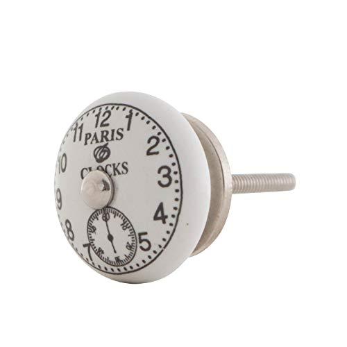 Vintage Möbelknopf Keramik Landhausstil Shabby-Chic Französch Alte Uhr (Paris Clocks White)