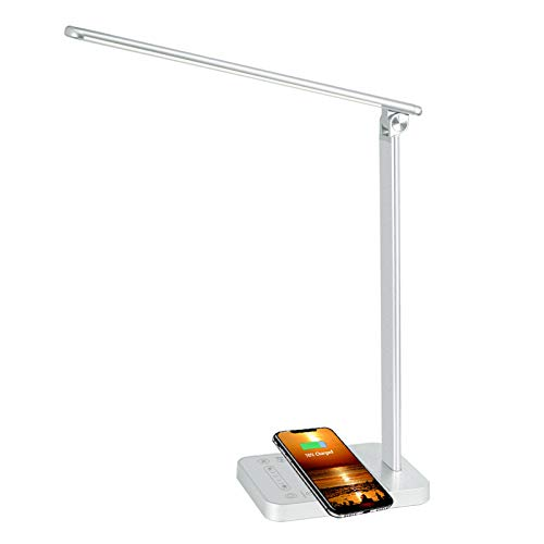 Lámpara Escritorio LED 6 Niveles de Brillo Regulable Cuidado Ojos y Puerto de Carga USB Lámpara de Mesa Inteligente con Pantalla Táctil y WIFI Compatible con Alexa y Google Assistant - Plata