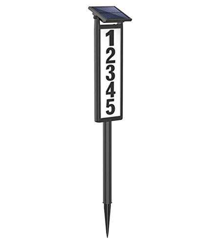 SUNGATH Lighted House Numbers for Outside, Waterproof Solar Address Signs for Yard with Stakes, Solar Powered LED Illuminated Address Plaques for Houses&Home (Height 35 Inches, 1 Pack)