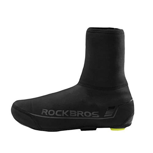 Yiiquanan Homme Matériel d'Equitation d'Extérieur Étanche Couvre-Chaussures Coupe-Vent pour Vélo de Montagne Surchaussures de Cyclisme (Noir, Asia S)