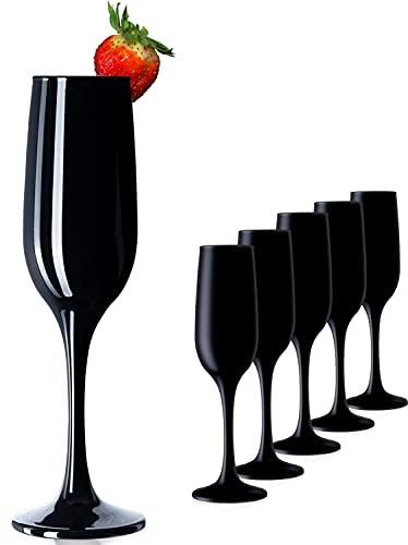 PLATINUX Juego de 6 copas de champán de cristal de color negro, 210 ml máx.