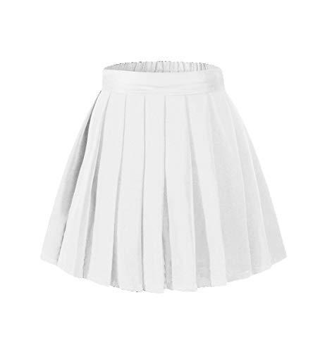 Beautifulfashionlife Girl's Pleated Mini Skirt Tennis A-line Elastic Shorts White,M