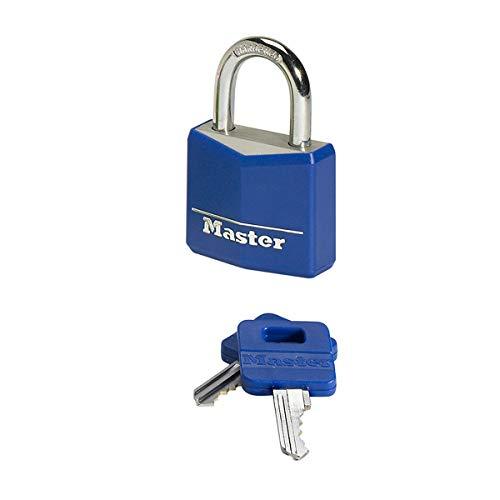 Master Lock 9141EURDCOL Candado con Llave con cuerpo de aluminio macizo revestido, Color Aleatorio, 4 x 5,9 x 1,3 cm