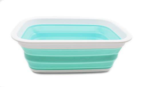 SAMMART Cesta plegable de 9,2 l, cesta de picnic portátil para exteriores, bolsa de la compra plegable, cesta de almacenamiento para ahorrar espacio (blanco/verde marino)