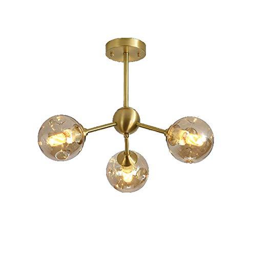 GLXLSBZ Moderna lámpara de Techo Dorada, lámpara de Montaje empotrada con Pantalla de Vidrio, lámpara Colgante para Dormitorio, Cocina, Comedor, 28 * 25 Pulgadas-A, Cobre, 6 Luces