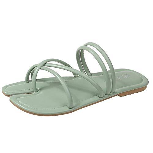 xinghui Sandalias Impermeables para Mujer Zapatillas Usan los trotones de Cerdo, el pie, la Palabra Arrastre Plano, la Pendiente-Verde_37