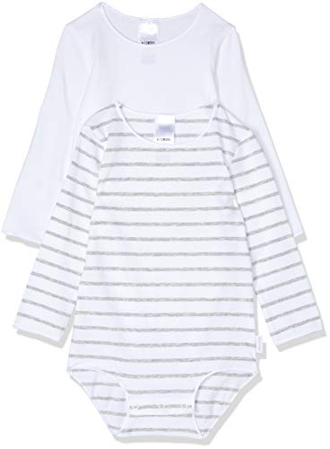 Bonds Baby Wonderbodies Long Sleeve Bodysuit (2 Pack), White and Grey Stripe, 000 (0-3 Months)