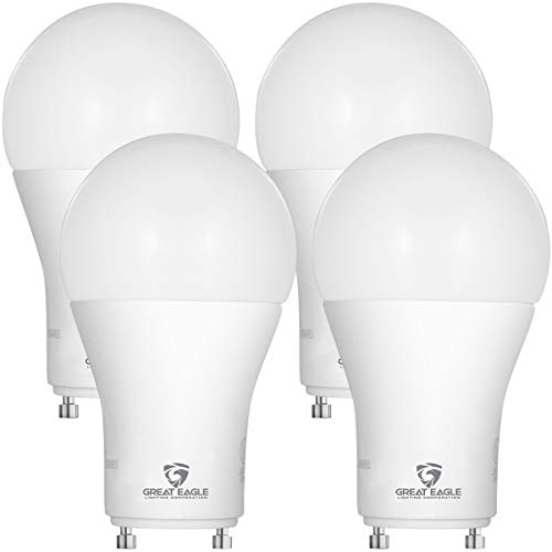Great Eagle LED A19 Light Bulb with GU24 Twist-in Base. 14W (100W Replacement), 1600 Lumens, Dimmable, UL Listed, Cool White 4000K (4-Pack)