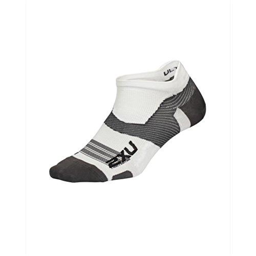 2XU UK Men's Vectr Ultralight Cushion No Show Socks, White/Grey, Small