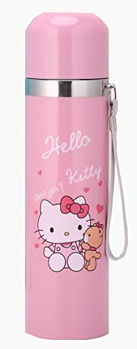 thermos for hot food mug an vacuum coffee bottle , cold hot water insulated flask。 stainless steel thermo tea container Cat Pink 500 ml