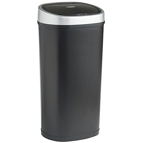 An image of the VonHaus 50L Sensor Bin Automatic Touchless Kitchen Waste Dustbin Black LED Motion Detection Lid Robust Metal Body with Black Steel Finish