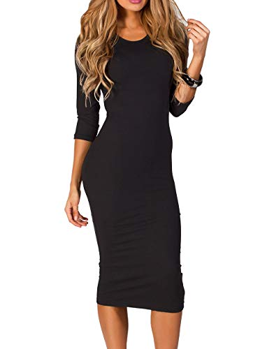 ICONOFLASH Women's Black Body Con Midi Dresses 3/4 Sleeves Crew Neck Fitted Dress Size Medium