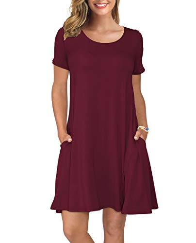 KORSIS Women's Summer Casual T Shirt Dresses Swing Dress WineRed M