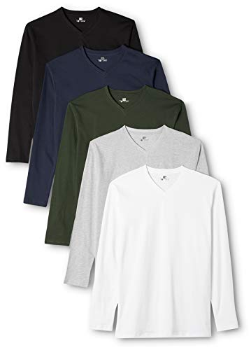 Lower East Camiseta de manga larga con cuello de pico, pack de 5, Mehrfarbig (Weiß/Schwarz/Grau/Blau/Grün), Large