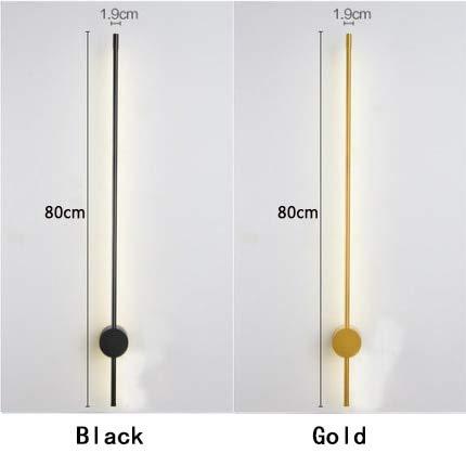 RAQ Moderne led-wandlamp, goud/zwart, spiegel, lichthouder, voor woonkamer, restaurant, slaapkamer, wandlamp, lengte 600 mm ~ 1400 mm, warmwit, nee, RC L800 mm, 9 W