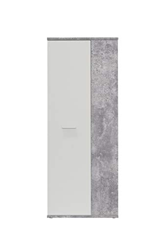 FORTE Net106 Schuhschrank, Holz, beton + weiß, 68.90 x 34.79 x 179.1 cm