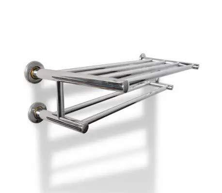 GOTOTOP - Toallero de acero inoxidable, 600 mm, con 6 tubos, 61 x 23 x 16 cm