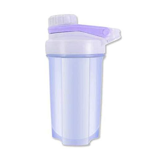 LSGMC Botella De La Coctelera Taza Plástica Deportes De Agua Portátil a Prueba De Fugas Blender Multifuncional Shake Copa, 500ml,Púrpura