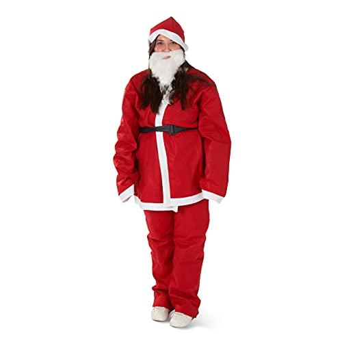 5 Piezas Traje Papá Noel para Adulto  Gorro, Cinturón, Pantalón, Chaqueta, Barba  Cálido y Cómodo de Llevar  Traje Santa Claus de Navidad, Fiesta de Disfraces.