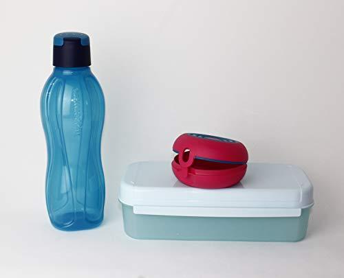 Tupperware Brotdose, Lunchbox Bellevue 980 ml Apollo Royal Box Hellblau + Trinkflasche EcoEasy to Go 750ml Türkis/Dunkelblau + Flexi Twin + Geschenk Hängelöffel Petrol